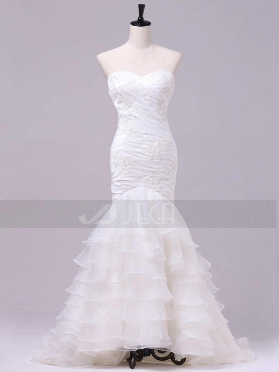 Düğün - Mermaid Cut Elegant Layered Skirt Chic Wedding Dress