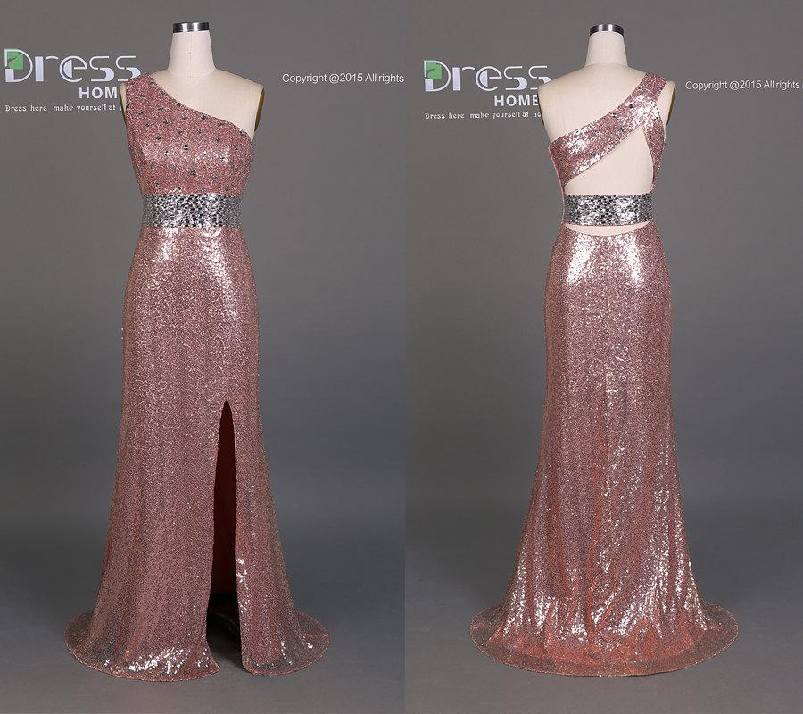 Mariage - Sexy Rose Pink Sequins One Shoulder Silver Beading Party Dress/Long Prom Dress/Luxury Mermaid Evening Party Dress/Reception Dress  DH214