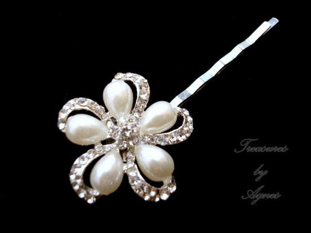 Mariage - Bridal hair pin, wedding hair clip, wedding hair pin, rhinestone hair pin, flower hair pin, bridesmaid hair accessory