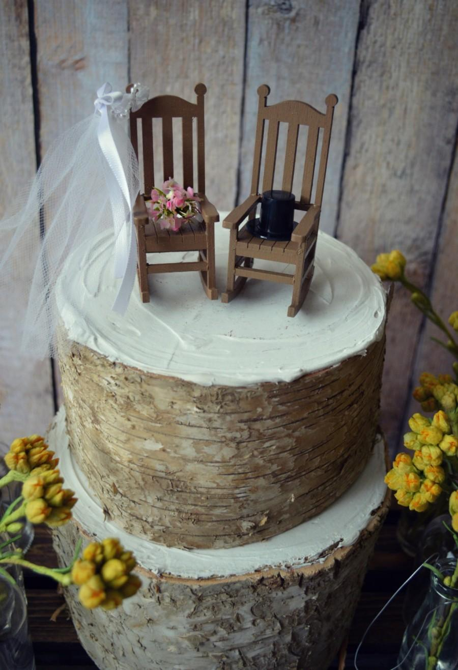 Hochzeit - Rocking chair-cake topper-rustic-shabby-woodlands-Mr.and Mrs.-wedding cake topper-wedding-country-bride and groom-chairs-just married