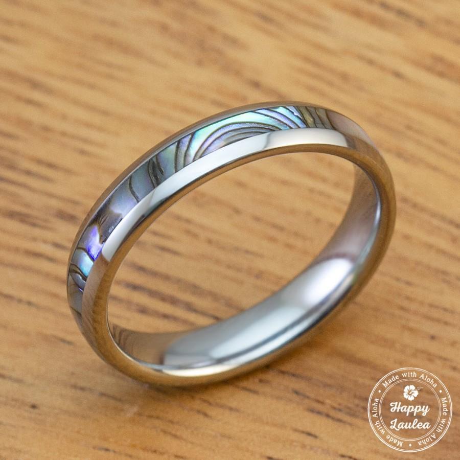 زفاف - Tungsten Carbide Ring with Abalone Shell Inlay (4mm width, Barrel Shaped)