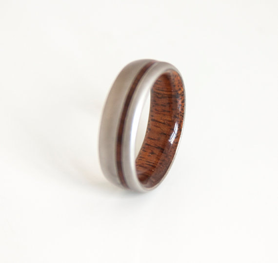 Anium Hawaiian Koa Ring Mens Wedding Wood Bands Men S Lined With Him Her