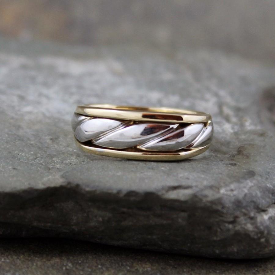 زفاف - Men's Wedding Band - 10K White and Yellow Gold  - Circa 1990 - Estate Jewellery from A Second Time