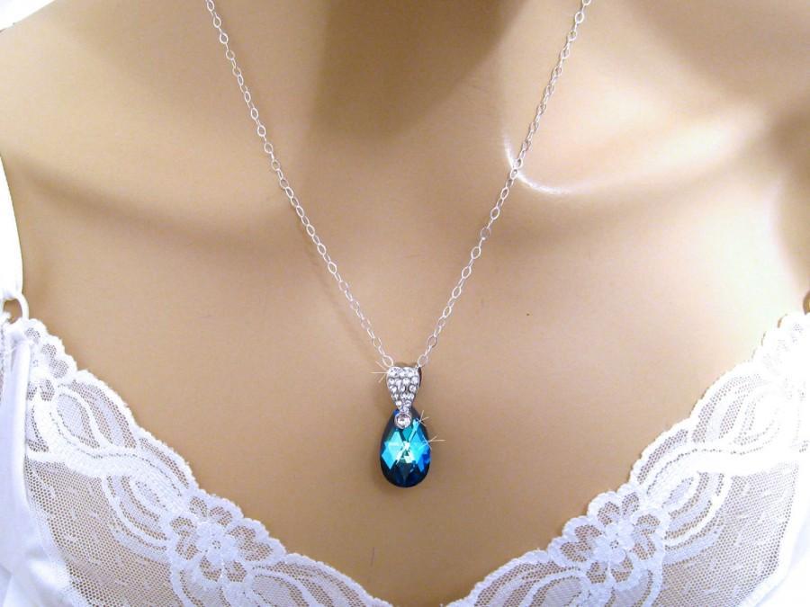 زفاف - Bermuda Blue Crystal Necklace: Rhinestone Swarovski Bridal Necklace, Sterling Silver Bridal Wedding Jewelry Bridesmaid Necklace Prom Jewelry