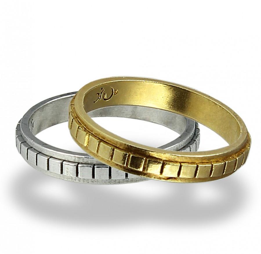 زفاف - Cubes Wedding Band Set , Wedding Band , Men's Band , Women's Band , Wedding Ring , Set , For Him , His and Hers, Wedding Band , Unisex Band