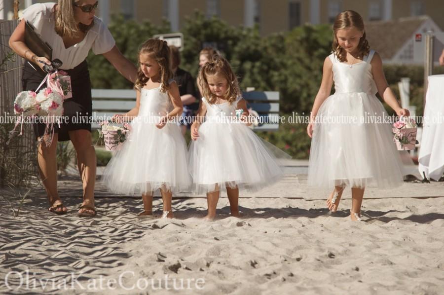 زفاف - Jr Bridesmaid Flower Girl Dress Drop Waist