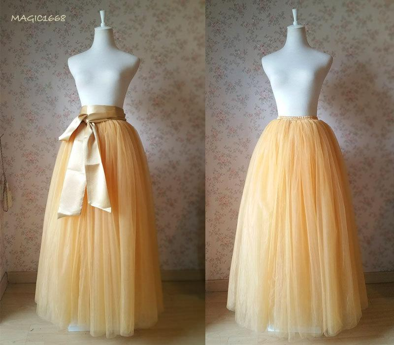 Full floor length tulle skirt apricot bridesmaid tutus for Tulle skirt wedding dresses