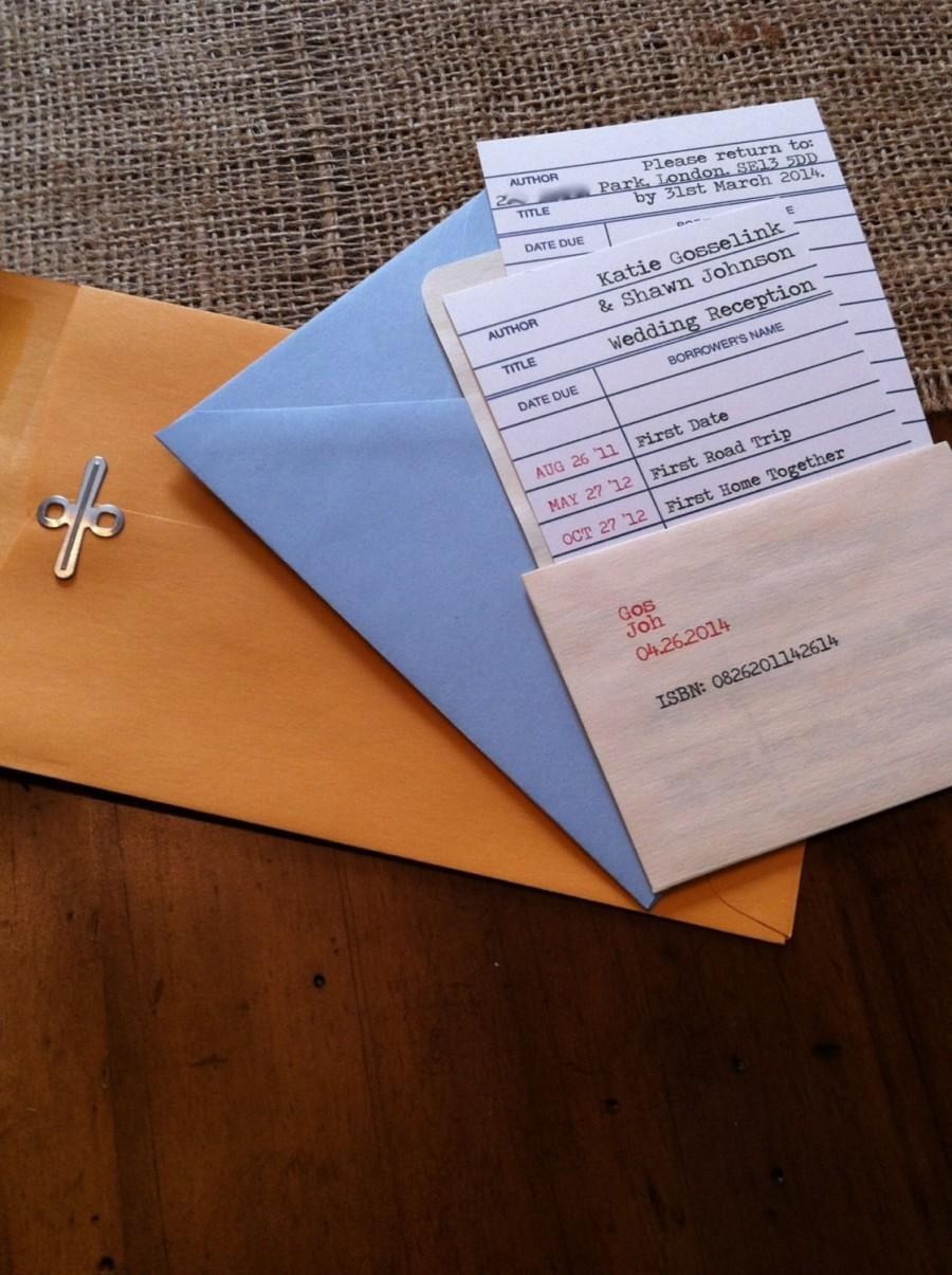 Свадьба - Library Wedding Date Due Check Out Card Invitations with RSVP Card and Envelope - Sample