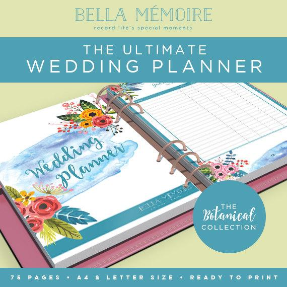 Printable Wedding Planner  Botanical Collection  Instant
