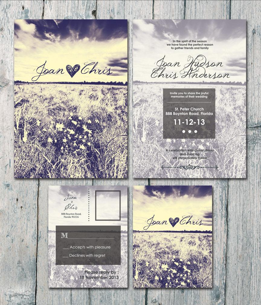 digital printable files double sided autumn field and sunset wedding invitation and postcard rsvp set wedding stationery id170 - Postcard Wedding Invitations