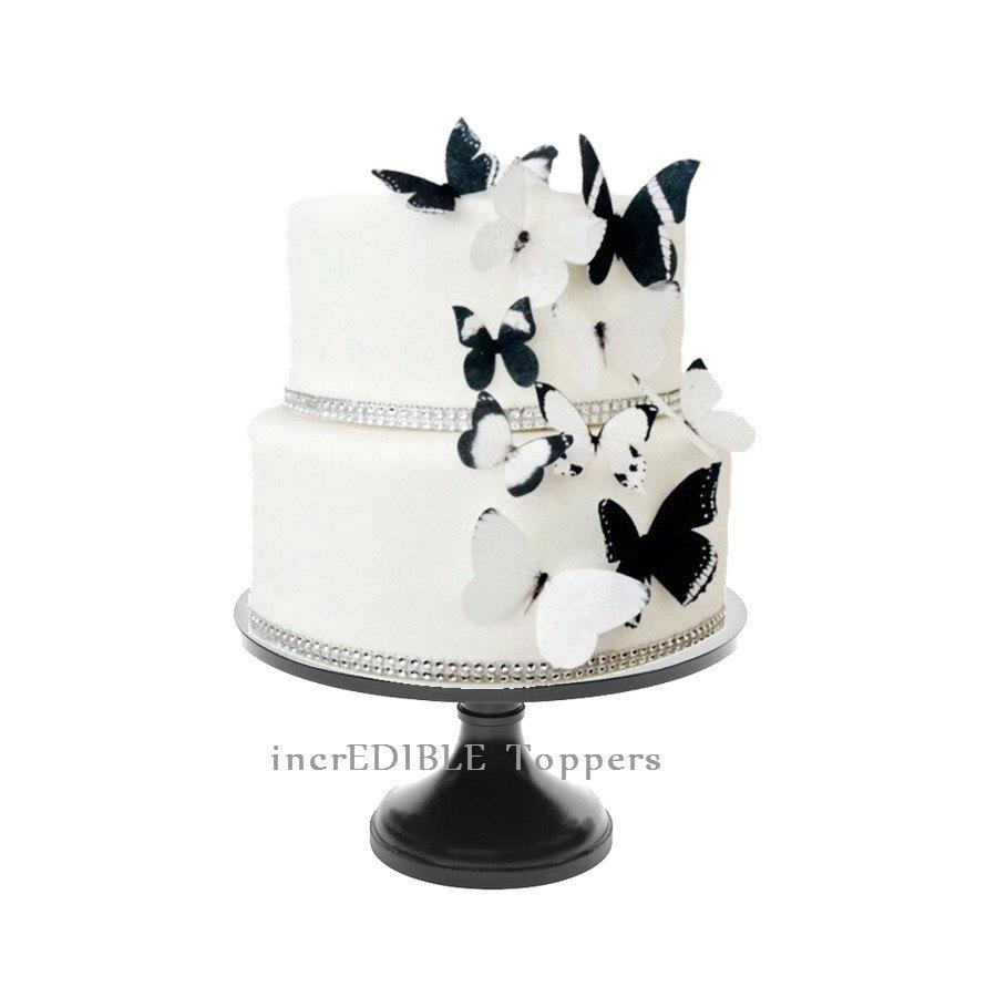 Wedding Cake Topper Edible Erflies In Black And White Erfly Decorations