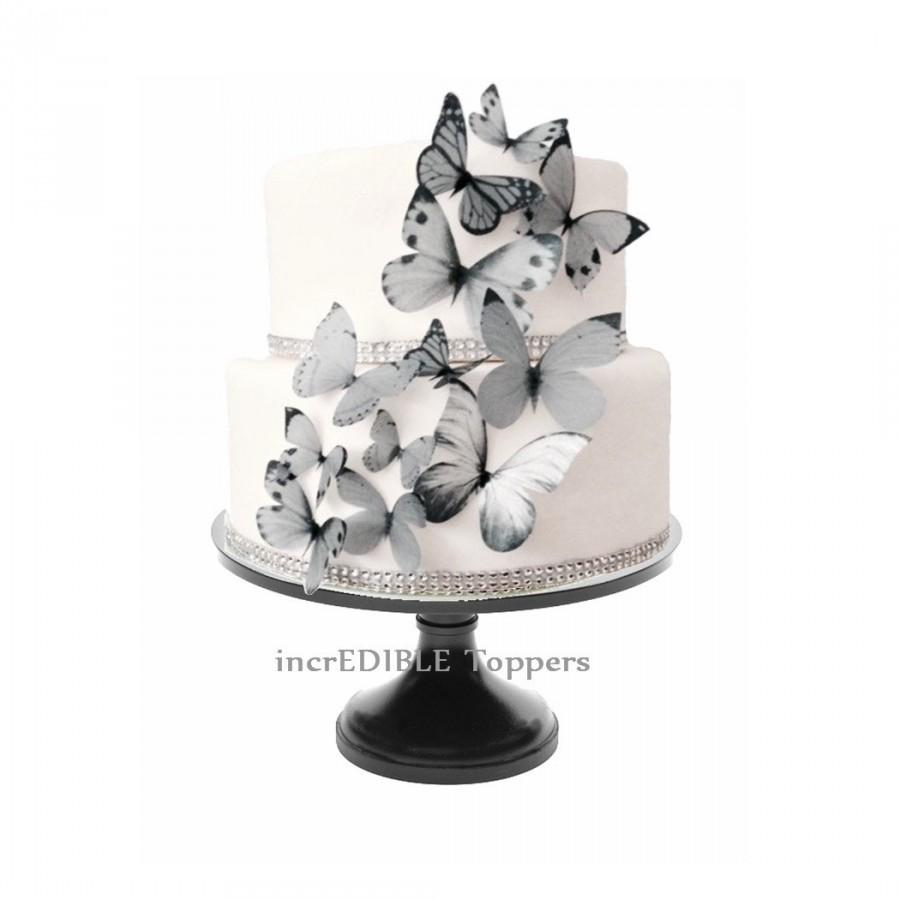 Cake Decorations Edible Photos : Wedding CAKE TOPPER - Edible Butterflies In Gray ...