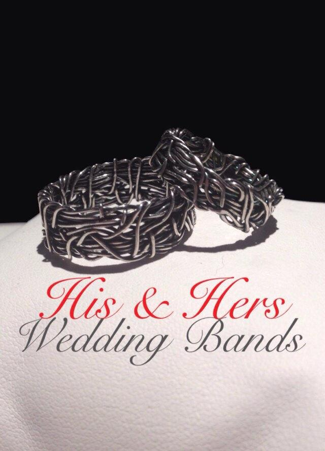 Wedding - CROWN OF THORNS, His and Hers Wedding Rings, Religious Rings, Couples Rings, Rustic Wedding Band, Matching Wedding Bands, Nature Jewelry