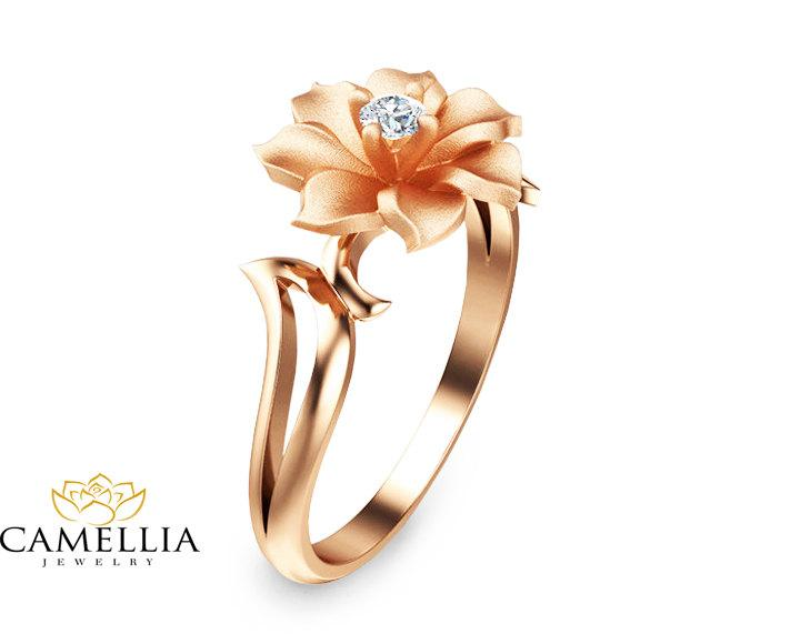 زفاف - Unique Diamond Engagement Ring in 14K Rose Gold  Leaf and Flower Solitaire Ring Nature Inspired Engagement Ring