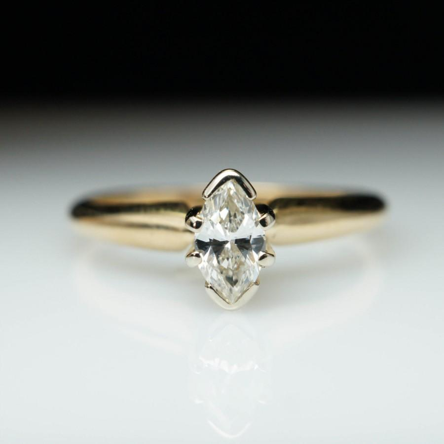 Mariage - Vintage Marquise Cut Diamond Promise Ring in 14k Yellow Gold - Size 4