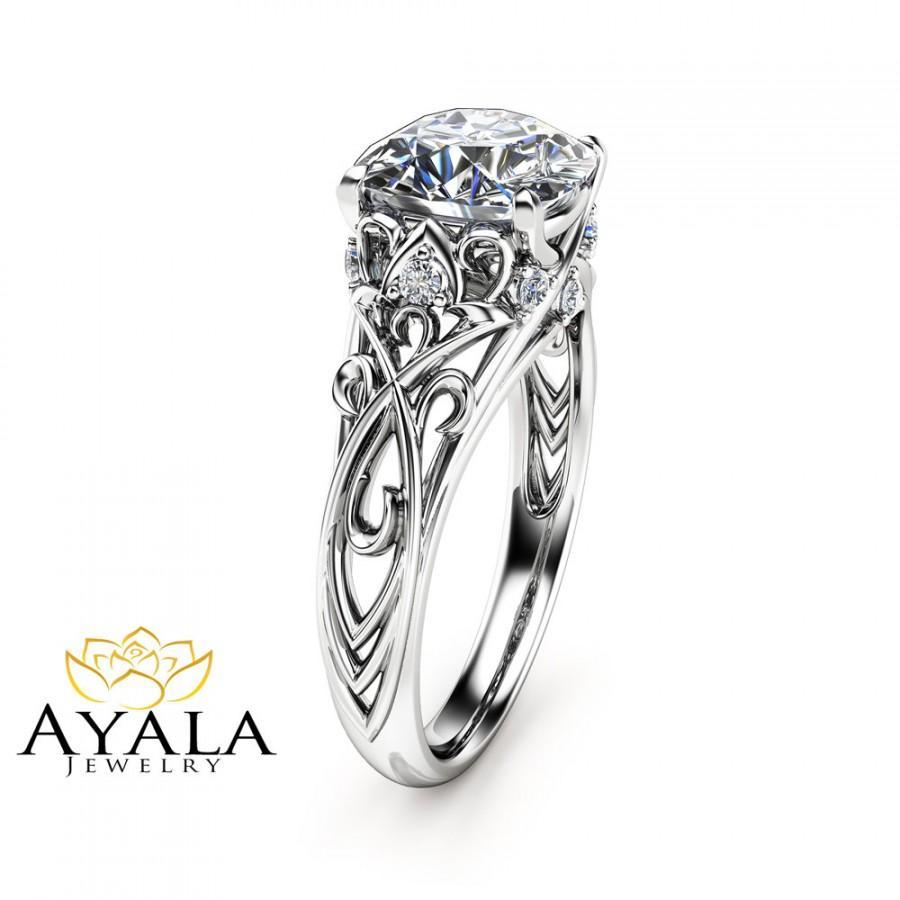 زفاف - Cushion Cut Diamond Engagement Ring 14K White Gold Cushion Cut Ring Unique Diamond Engagement Ring Art Deco Ring