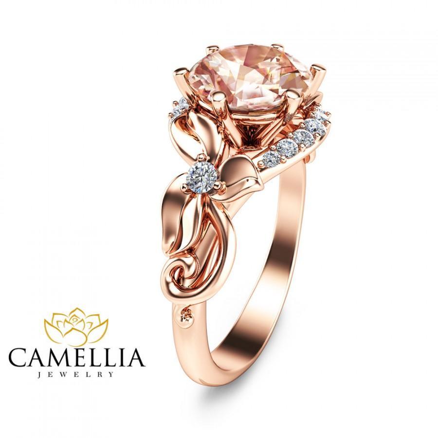 زفاف - Unique 2 Carat Morganite Ring Leaf Design Morganite Engagement Ring in 14K Rose Gold Vintage Style Morganite Ring