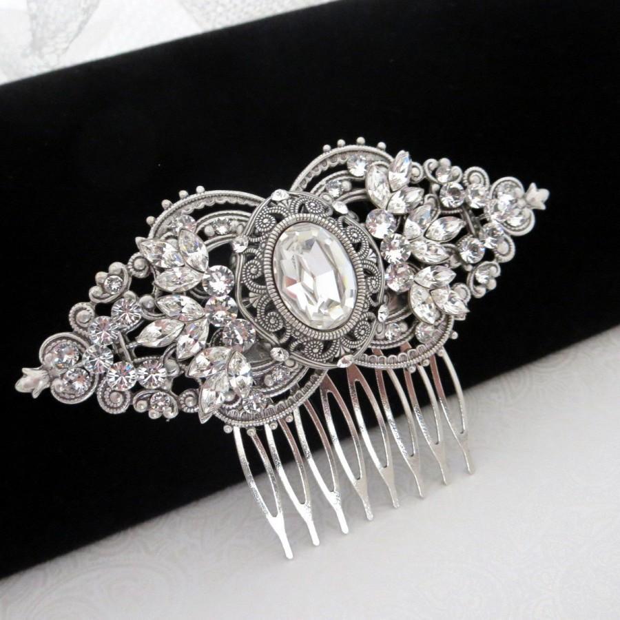 زفاف - Bridal hair comb, wedding hair piece, vintage bridal comb, art deco hair comb, Swarovski crystal hair comb