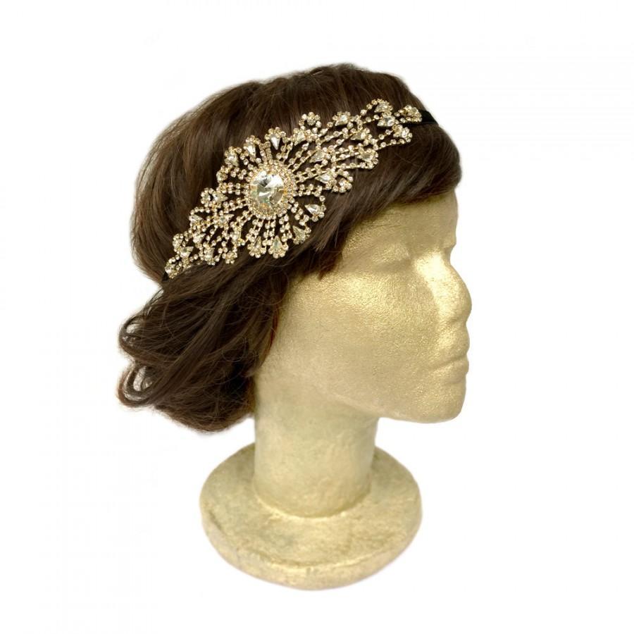 Mariage - Gatsby Headpiece Gold Flapper Costume Bridal Fascinator Art Deco Headpiece Roaring 20s Headband Vintage Wedding Hair Piece Hair Accessories