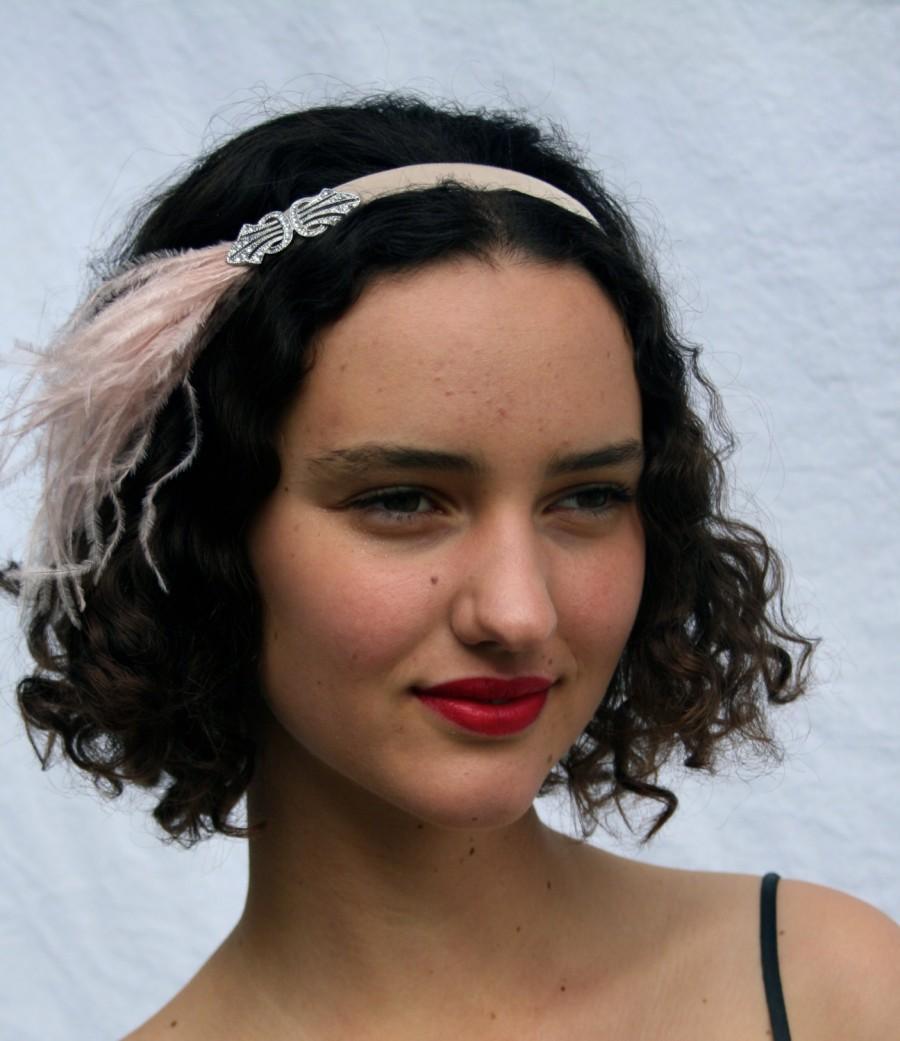 Mariage - Pink Headpiece, swarovski Hair Accessories, Blush Headband, Champagne Feather Headband, Swarovski Jewelry, Hair Jewelry,  Velvet Ribbon