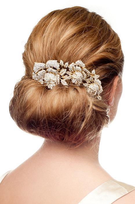 زفاف - Gold crystalized roses – dazzling bridal hair comb. Crystals and pearls encrusted wedding hair comb.