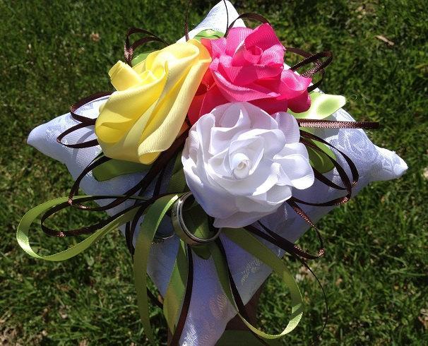 Mariage - Wedding Ring Bearer Pillow brocade satin handmade roses