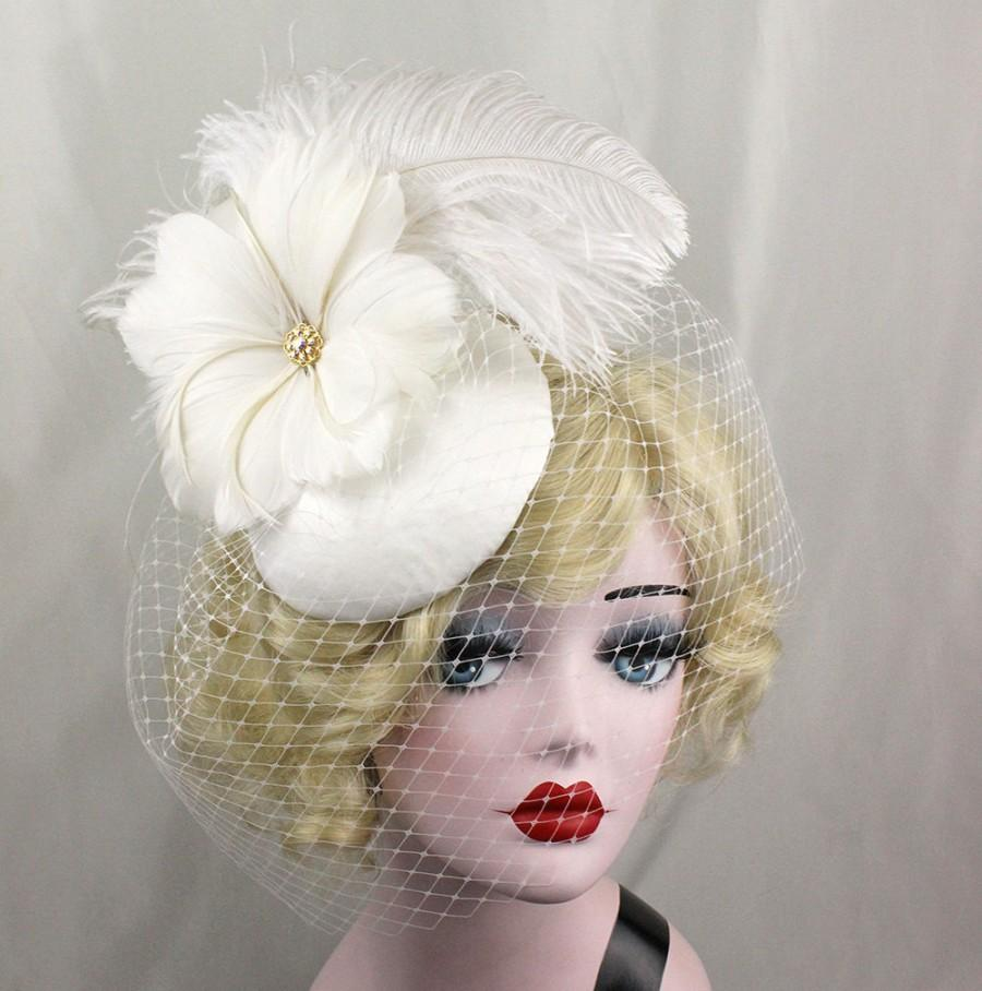 زفاف - Ivory Birdcage Veil, Feather Fascinator, Bridal Hat, Feather Flower, Swarovski Crystal, Victorian Veil, Blusher Veil, Burlesque Headpiece