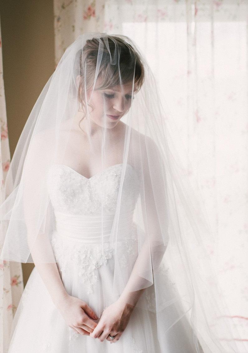 """زفاف - 2-tier cascading veil, bridal veil, Available 90"""" thru 120"""" lengths"""
