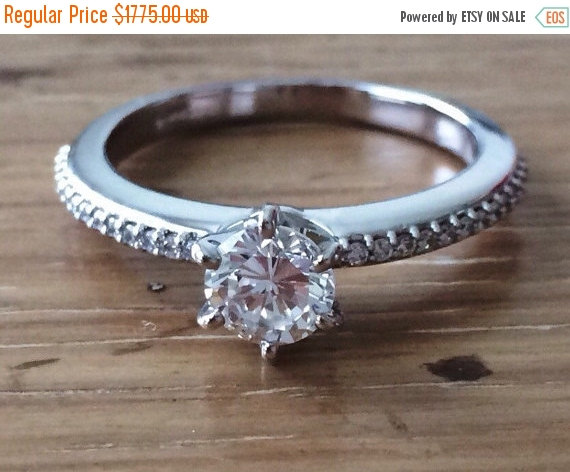 Sale 1 Carat Diamond Solitaire Diamond En Ement Ring Round Diamond Ring Fine Jewelry Bsk Designs Diamond Band Handcrafted Jewelry