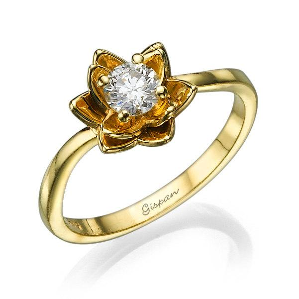 flower engagement ring yellow gold with diamonds unique