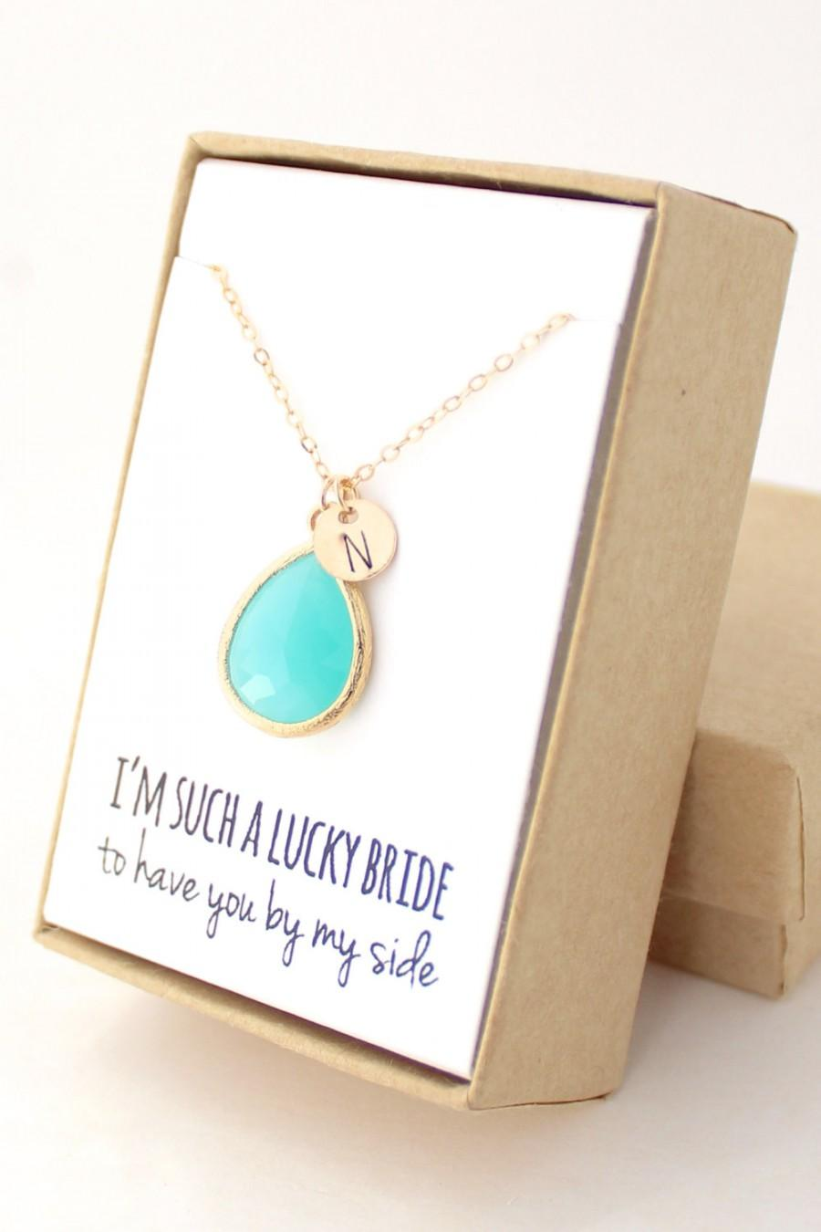 Wedding - Turquoise / Gold Teardrop Necklace - Turquoise Bridesmaid Necklace - Bridesmaid Gift Jewelry - Turquoise and Gold Necklace - NB1