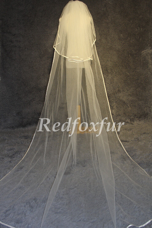 زفاف - 2T cathedral veil -Ivory White Cathedral veil bridal veil wedding accessories 3m-wedding veil