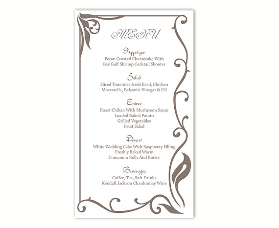 Wedding menu template diy menu card template editable text for Wedding drink menu template free