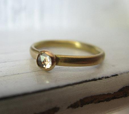 Wedding - Size 6 White Sapphire Handmade Engagement Ring 18K Yellow Gold Minimalist Gold Ring Solitaire Engagement Ring White Gemstone Artisan Ring