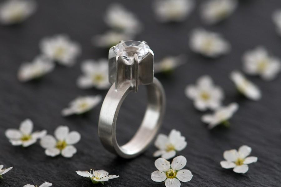 Mariage - White Topaz Ring - White Topaz Engagement Ring - White Topaz set in satin Finished Sterling Silver -  Made To Order - FREE SHIPPING
