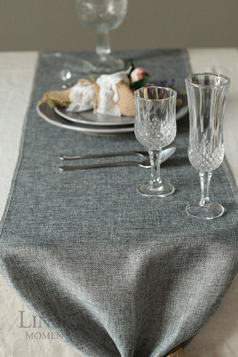 """Mariage - 14 inch Gray Burlap Table Runner-Grey Table Runner Length Available for 48"""" 72"""" 84"""" 96"""" 108"""" 120"""" 132"""" 156""""-Rustic Wedding Deor FUB034CM-GRE"""