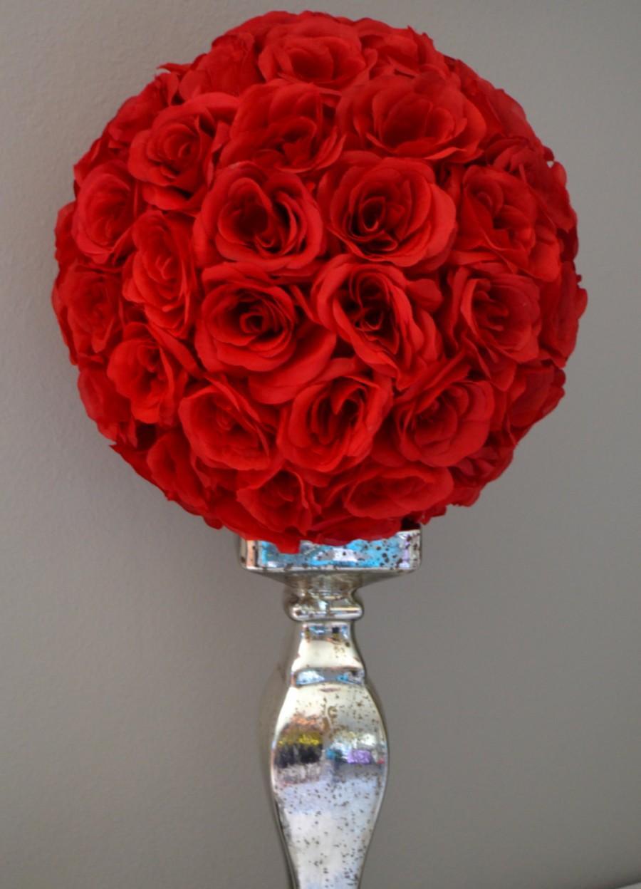 Premium Soft Silk Red Flower Ball Wedding Centerpiece