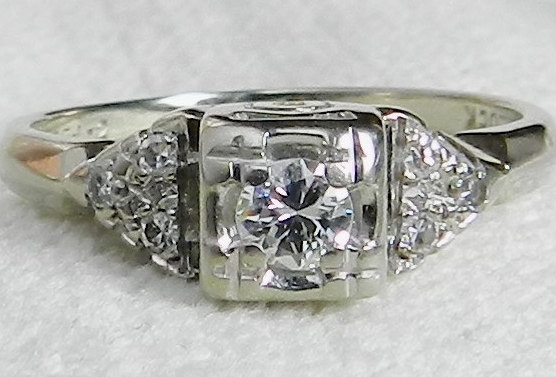 Hochzeit - Vintage Engagement Ring Desirable Transitional Cut 0.21 ctw Diamond Art Deco Engagement Ring 14k White Gold