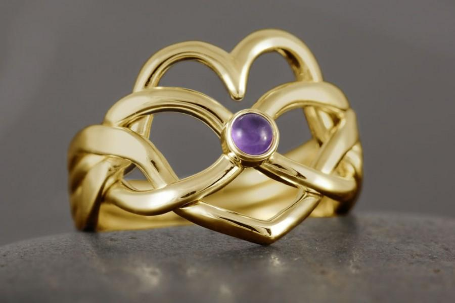 Mariage - Heart infinity puzzle ring in solid gold with natural amethyst cabochon