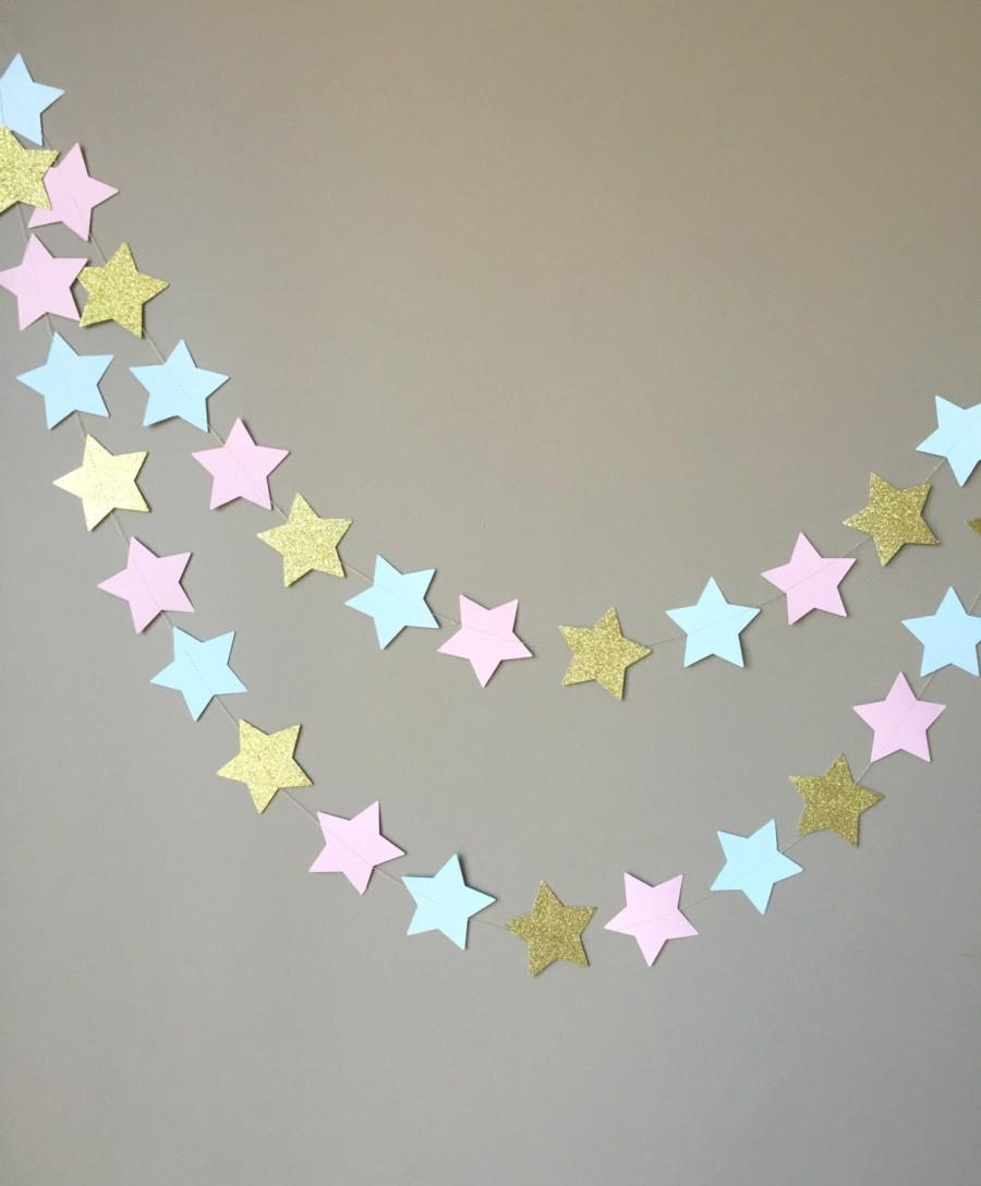 Mariage - Gender Reveal Twinkle Twinkle Little Star Garland, Baby Shower, Gender Reveal Party Decorations
