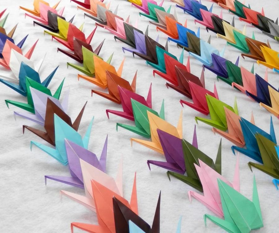 Hochzeit - 100 Small Origami Cranes In 100 Different Rainbow Colors Origami Paper Cranes