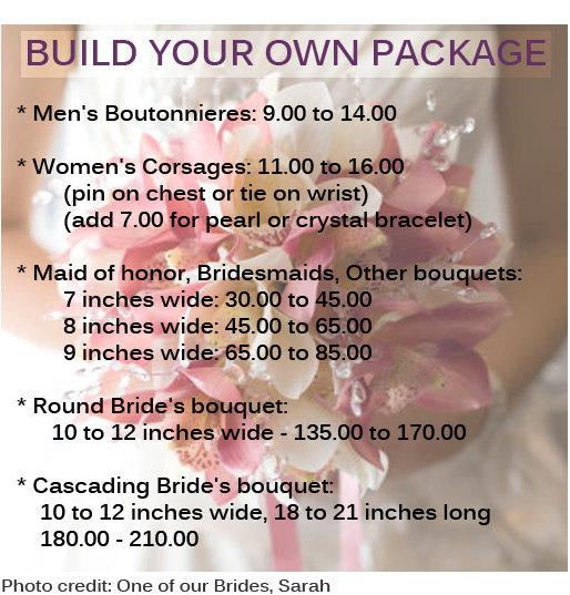 Pricing Chart: Real Touch Flowers, Bouquets, Wedding