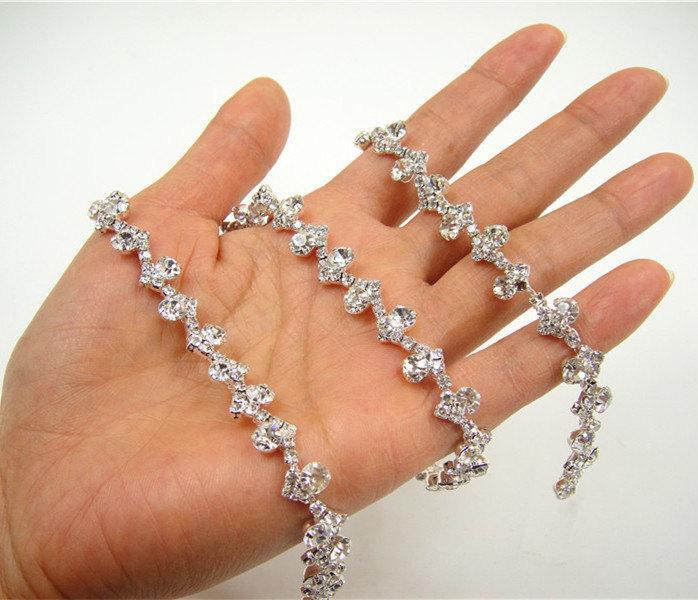 Mariage - Wedding Rhinestones Applique, Rhinetones trim for dress, sash, garter, bridal applique, Crystal Beaded Applique, Wedding Rhinestone Applique