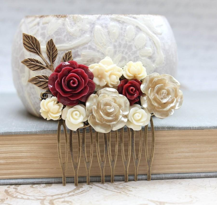 Mariage - Bridal Hair Comb Dark Red Wedding Hair Accessories Flower Collage Comb Ivory Cream Rose Gold Rose Branch Leaf Leaves Romantic Vintage Style