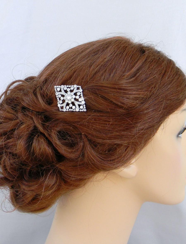 Mariage - Bridal Hair Comb, Swarovski hair clip, Rose Gold, Bridal Hair Accessories, Wedding filigree comb, Barrette, Kendra Hair Comb
