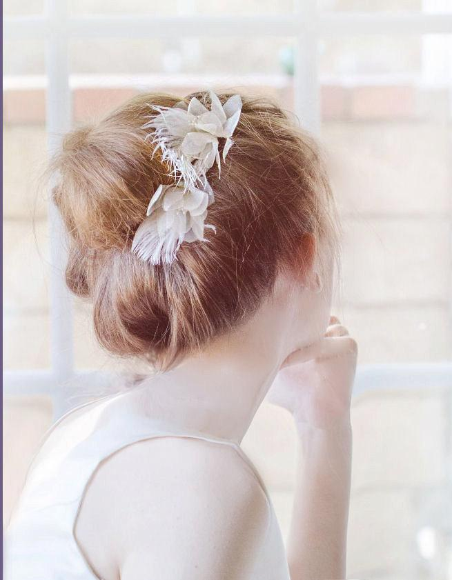 Bridal Ivory Flower Hair Accessories : Mini bridal headpiece feather hair pin ivory