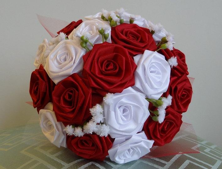 Just Say YES- Holiday Red & White Ribbon Flower Bouquet For Bridal ...