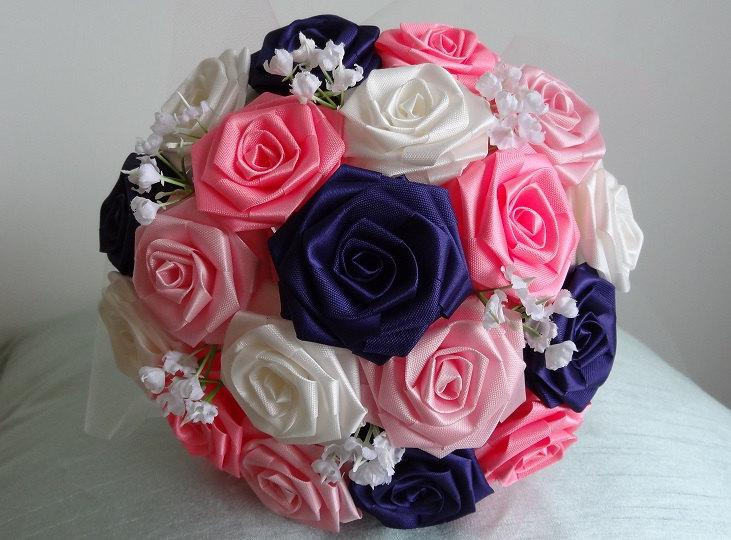 Wedding - Sapphire Love- Navy, Bermuda Pink, Pink and Ivory Ribbon Flower Origami Bouquet for Brides and Bridesmaids/ Weddings