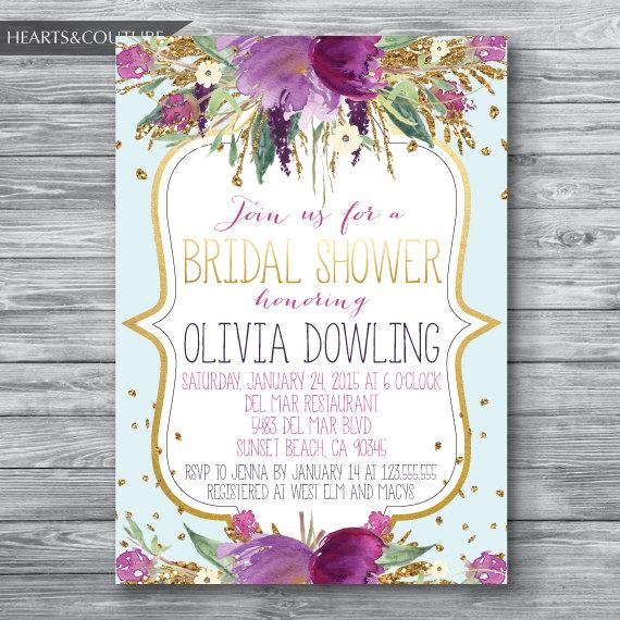 Hochzeit - Bridal Shower Invitation,WEDDING SHOWER INVITE,Floral bridal shower invitation,Gold Glitter Bridal Shower,Purple Floral Invitation,confetti