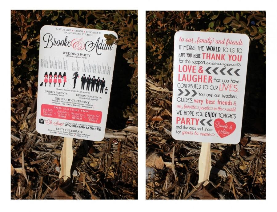Fun Paddle Fan Silhouette Wedding Program 5 X 8